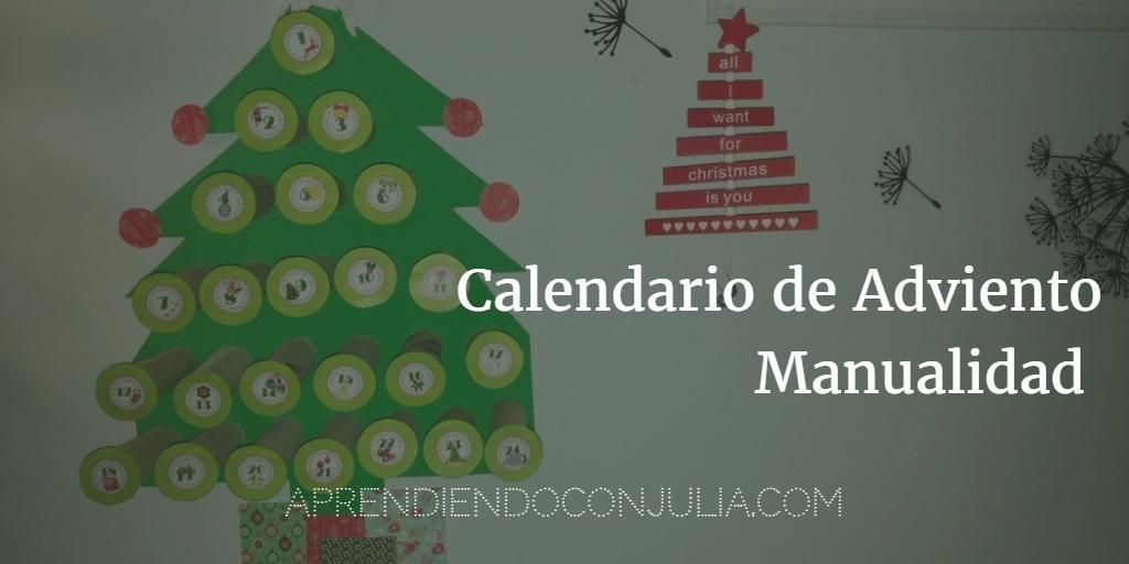 Calendario de Adviento con rollos de papel. Manualidad infantil