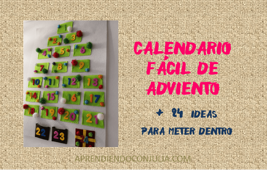Calendario casero de Adviento con fieltro para niños DIY