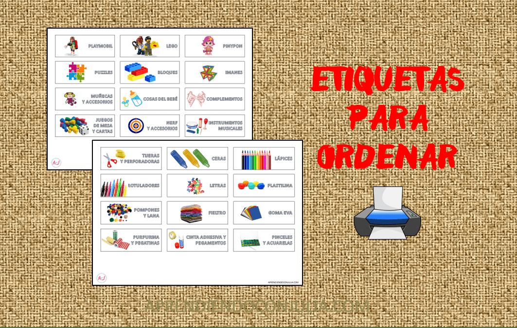 Etiquetas para ordenar juguetes y manualidades. Para imprimir ;)