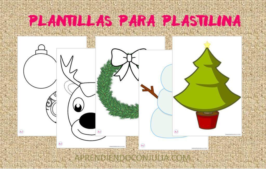 Plantillas para jugar con plastilina de Navidad
