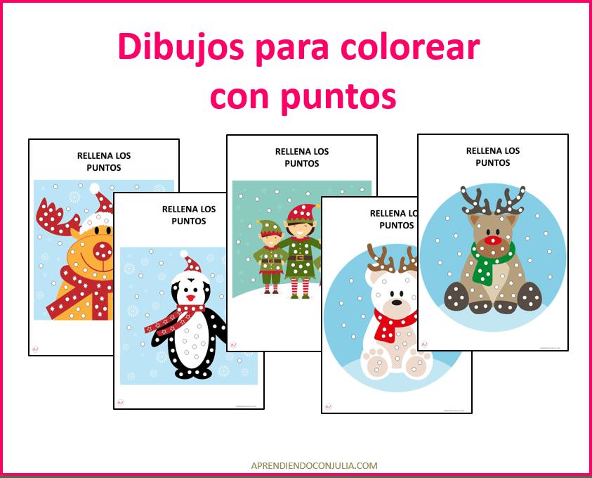 COLOREAR CON PUNTOS DIBUJOS NAVIDAD