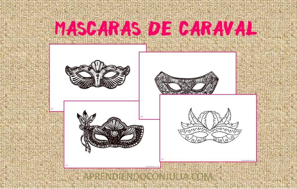 MÁSCARAS DE CARNAVAL PARA COLOREAR