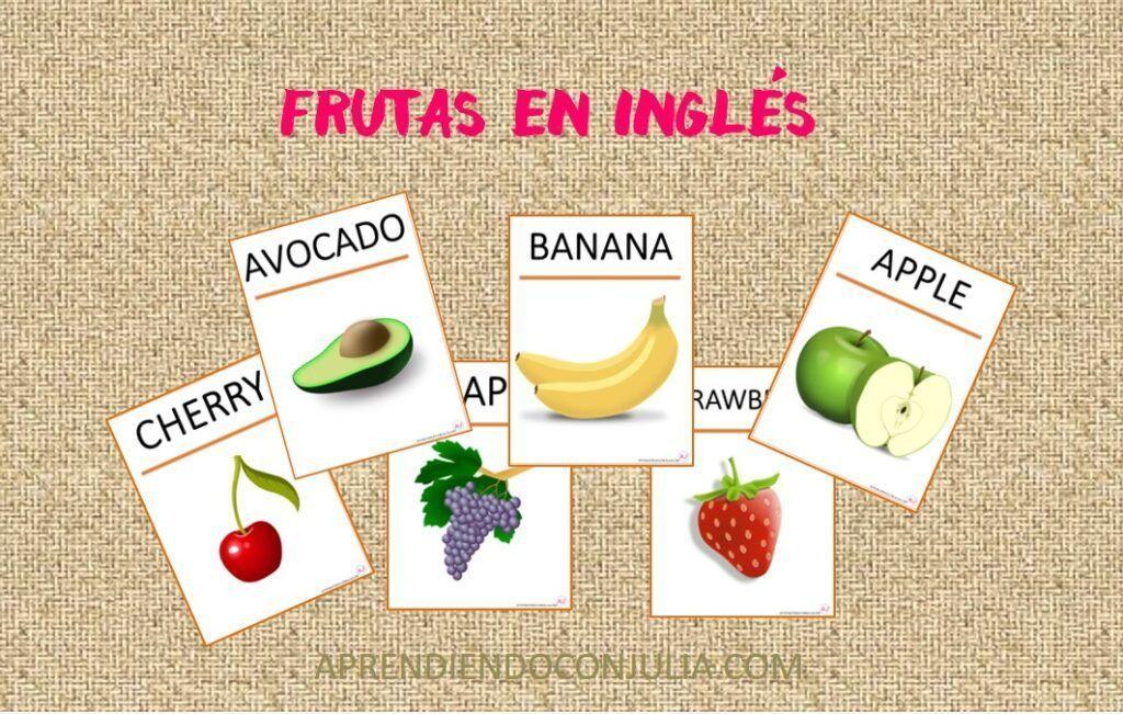 Frutas en inglés. Vocabulario para imprimir.