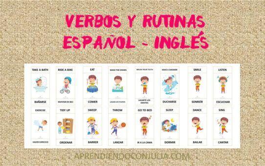Verbos y rutinas diarias en español e inglés